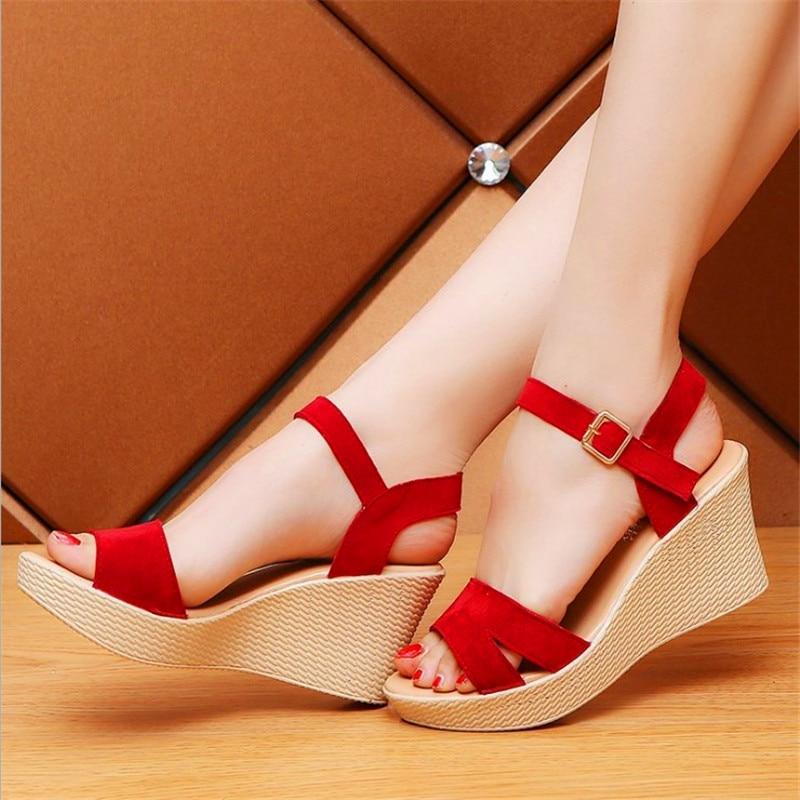 Size 35-39 Women Sandals 2019 Summer New Open Toe Fish Head Fashion Platform High Heels Wedge Sandals Female Shoes Woman Shoes