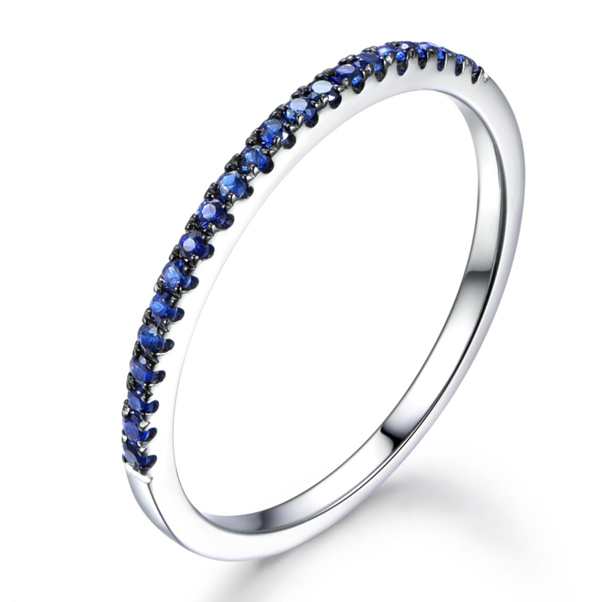 Myray 14k Rose Gold Wedding Band Blue Sapphire Wedding Band Pave Set Natural  Gemstone Ring Eternity