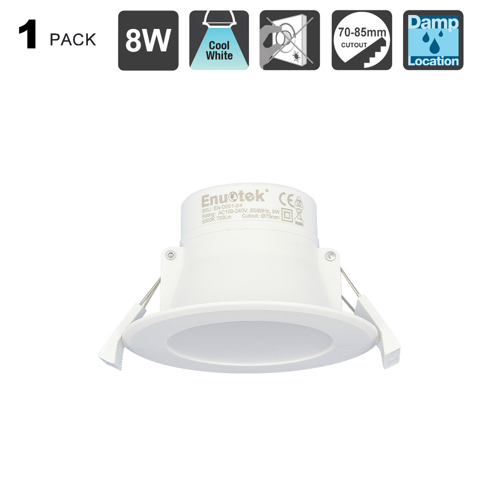 8W LED Small Recessed Downlights Recessed Ceiling Lights Warm White Lighting 3000K Cut /Φ70-85MM AC100~240V IP44 Available for Bathroom 3 Pack by Enuotek