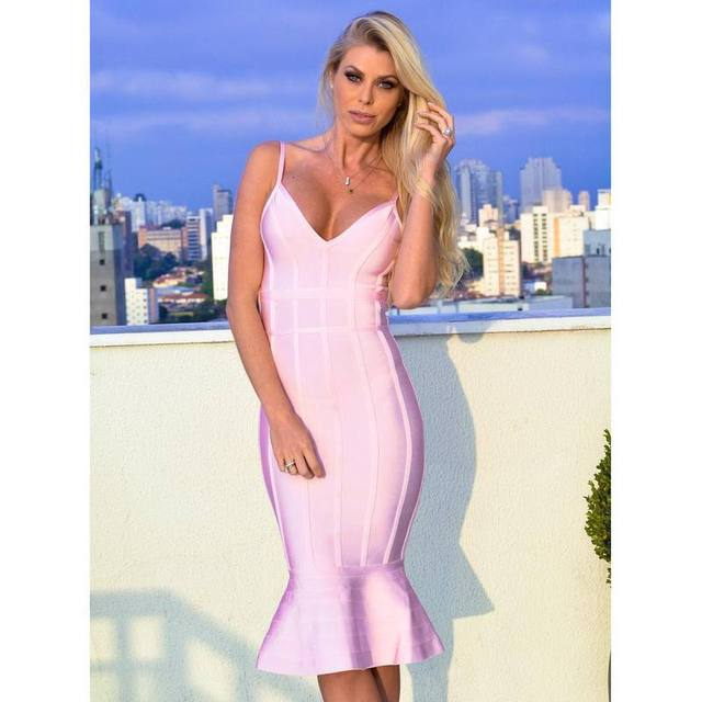 2017 new girl dress wholesale summer blush pink straps v neck fluted hem bandage  dress eveing party Dresses dropshipping-in Dresses from Women s Clothing on  ... 67937c72ff81