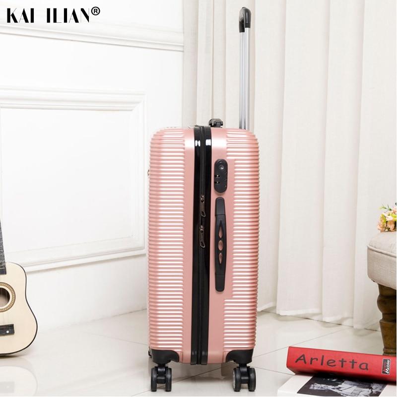 HOT 20/24/28 pouces roulement bagages Sipnner roues ABS + PC femmes valise de voyage hommes mode cabine bagage à main trolley boîte - 4