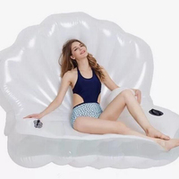 New Adults Giant Pool Float Shell Pearl Scallops Inflatable Funny Aquatic Toys Air Mattress Swim Life Buoy For Bikini 1.7*1.2M