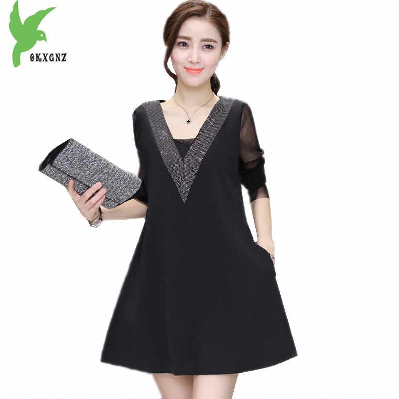 6f6fda895ad OKXGNZ Spring Korean large Size women Dress 2017 New Elegant loose long  Sleeve Was V collar