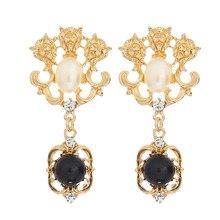 Gold Vintage Palace Long Hollow Out Crystal Pearl Drop Earrings Geometric Pierced Big Black Gem Dangle Earrings Women  Brincos