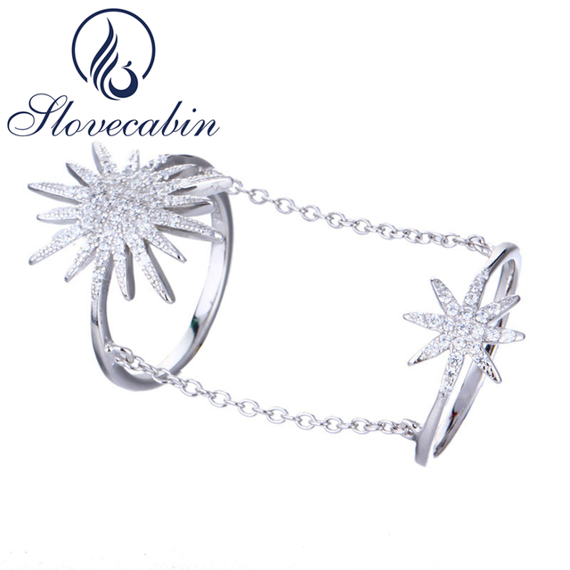 Slovecabin Double Link Chain Snowflake Ring For Women Romantic