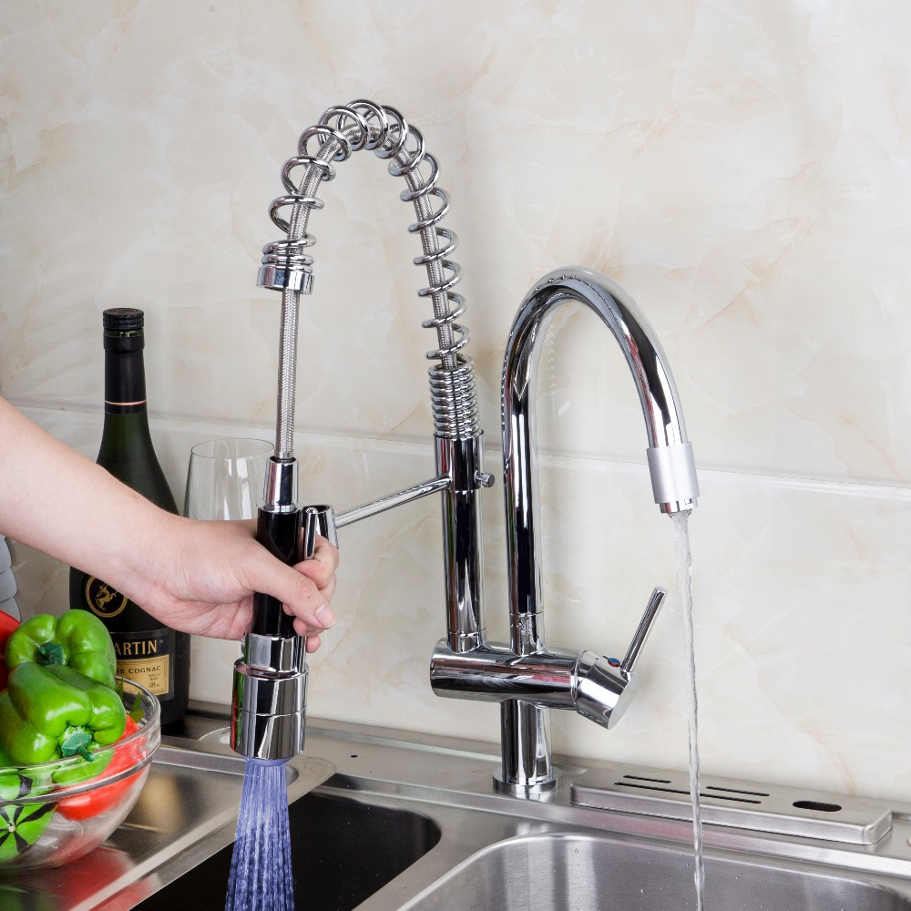 Pull Out Kitchen Faucet Chrome Polished Double Spouts Led Spray Rotated Faucets Mixer Tap Swivel Sink In From Home