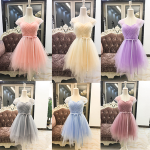 Image 1 - Bridesmaid Dresses Purple Cheap Girl Short Bridesmaid Dress White Pink Grape For Wedding Guests Sister Plus Size Party Dress
