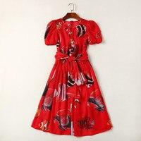 الجديد 2018 الربيع الصيف أزياء المرأة مصمم الشيفون طويلة فستان قصير الأكمام القوس الخصر أنماط طباعة عارضة فساتين الأحمر
