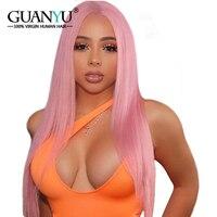 Guanyuhair светло розовый Синтетические волосы на кружеве парик бразильский Волосы remy бесклеевой парики, кружева с волосами младенца 100% натурал