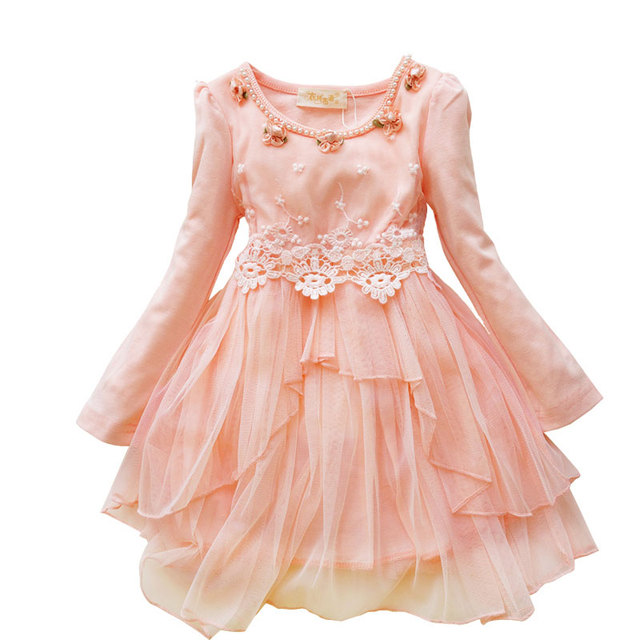 Fashion Girl Dress For Wedding White Yellow Green Pink Flower Lace Dress  For Girl Toddler Junior
