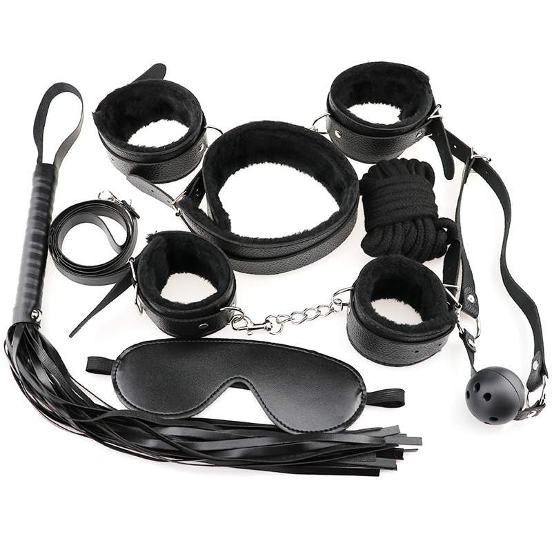 7pcs/Set Bdsm Bondage Rope Sex Toys For Woman Couple Open Mouth Gag Whip Hand Cuffs Men Erotic Accessories Fetish Mask Menottes