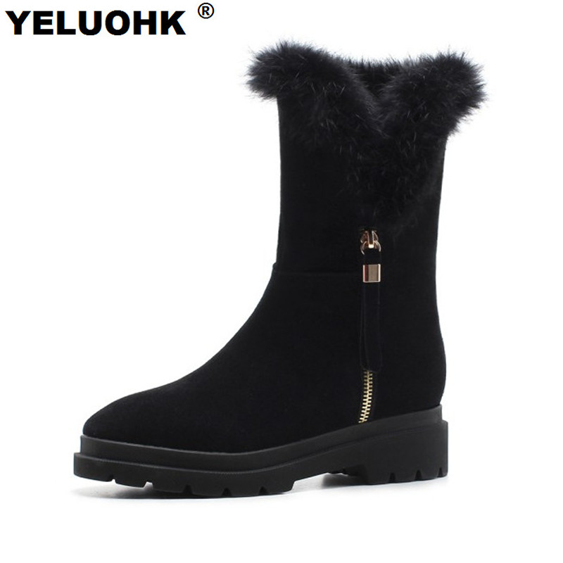 Brand New Female Winter Boots Women Shoes With Fur Fashion Warm Ankle Snow Boots Winter Shoes Plush Shoes Woman Winter Platform women winter coat leisure big yards hooded fur collar jacket thick warm cotton parkas new style female students overcoat ok238