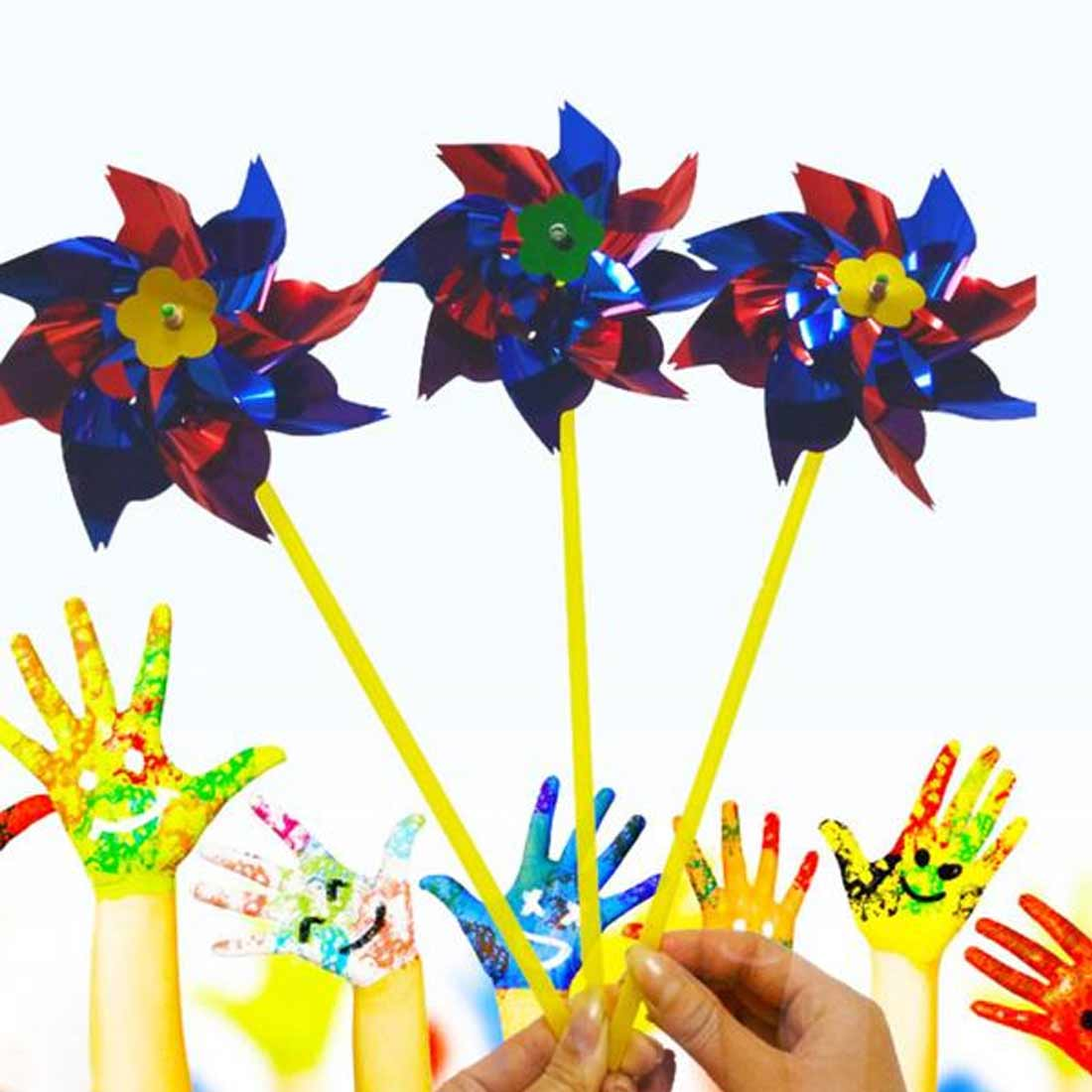10pcs Garden Lawn Party Decor Toy Gift Boys Girls Plastic Windmill Pinwheel Wind Spinner Kids Toy in Windmill from Toys Hobbies