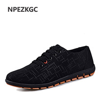 NPEZKGC 2017 New Spring/Summer Men Shoes Plus Size Casual Soft Shoes Men Canvas Shoes Breathable Low Shoe laces Flats 45,46,47
