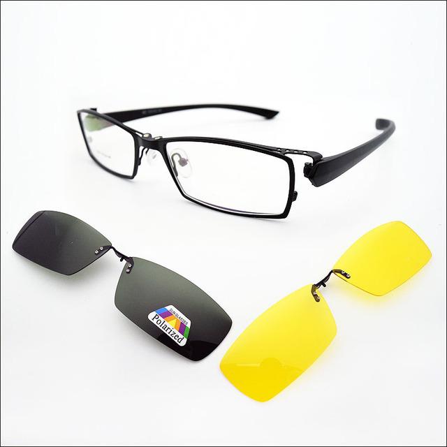 2 UNIDS Clip Polarizado en Las Gafas de Sol Gafas de Visión Nocturna y Gafas Ópticas Marco de Los Hombres Gafas de Marcos de Gafas Graduadas