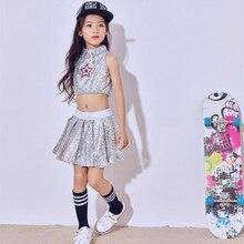 New Arrive Children Girl Ballroom Jazz Dance Costumes for Sequins Hip Hop Dancing Performance Costume Girls Top + Skirt