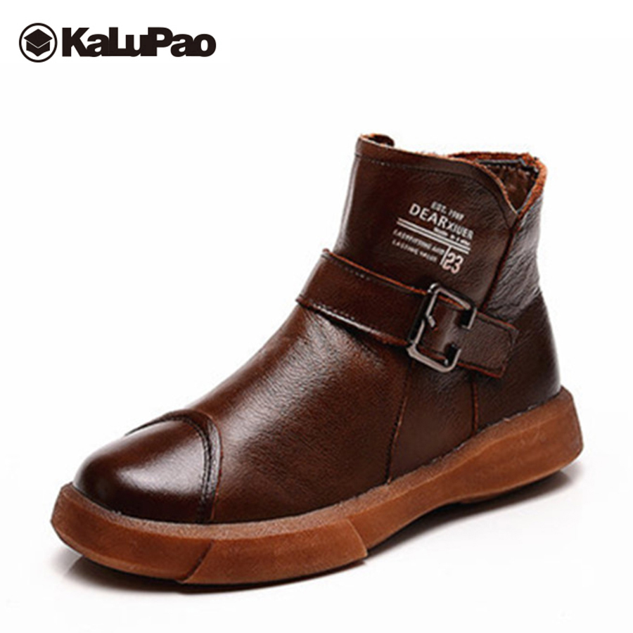 Kalupao snow boots for boys genuine leather boots kids keep warm winter boots kids with fur flat with winter shoes boys все цены