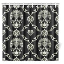 Aplysia Gothic Shower Curtain Ornament With Skull Goth Skeleton Floral  Design In Baroque Fabric Bath Curtains