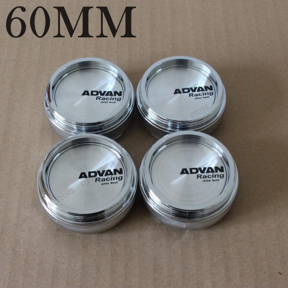 KOM POWER High Quality ADVAN Emblem 60MM Wheel Center Caps ABS & Chrome & Black 60MM Car Styling Wheel Cover Cap Hubcaps Rims