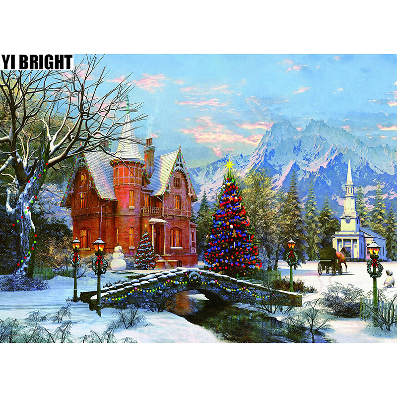 Snow Full Square/Round Drill 5D DIY Diamond Painting Cross Stitch Scenic Diamond Embroidery Landscape Mosaic Christmas Castle GT