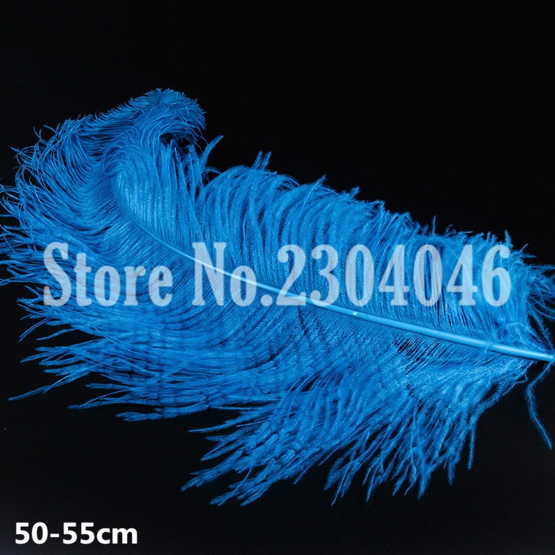 10 high quality beautiful 50 to 55 cm (20-22 inches) ostrich feathers dyed lake blue clothing fashion hair decoration