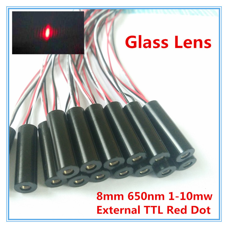 External TTL 8mm 650nm 1mW 5mW 10mW Glass Lens Red Dot Laser Module Industrial Grade APC Driver