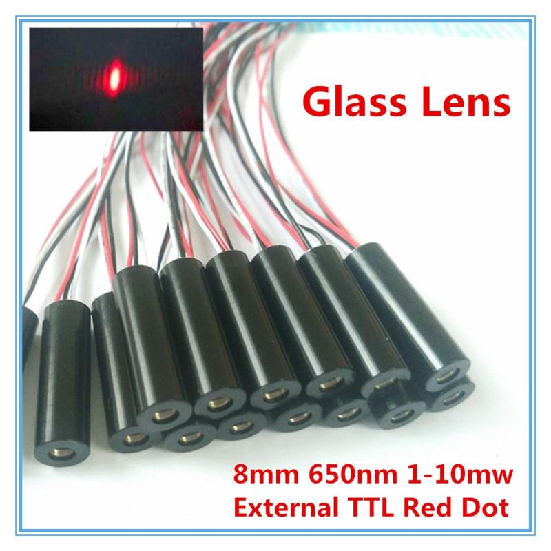 External TTL 8mm 650nm 1mW 5mW 10mW Glass Lens Red Dot Laser Module Industrial Grade APC Driver