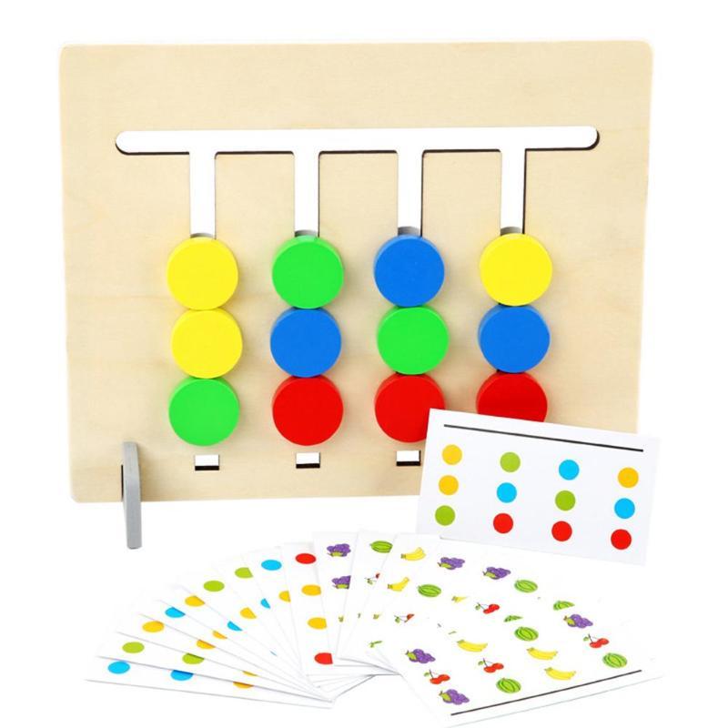 Montessori en bois quatre couleurs Fruits logique Puzzles jeu enfants enfants début jouets éducatifs mis en développement jouets en bois cadeaux