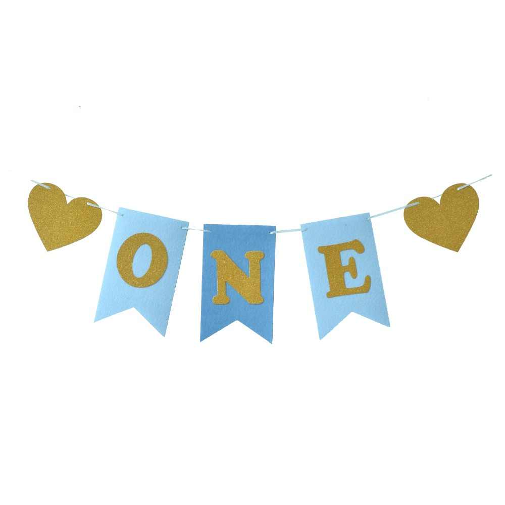Glitter One banner Pennant High Chair Baby Shower kids boys girls First Birthday Party Highchair Decoration Favor pink blue