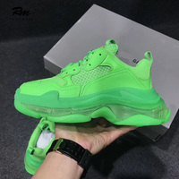 2019 new colors customization fashion brand BAL green Triple S Clear Sole Trainers for Men women sneakers casual shoes EU39