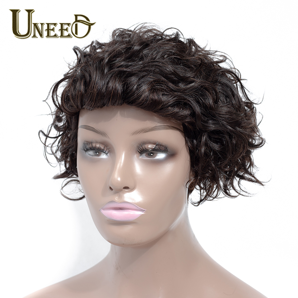 Uneed Hair 130 Density Short Bob Wig Brazilian Curly Human Hair Wigs For Women Natural Black