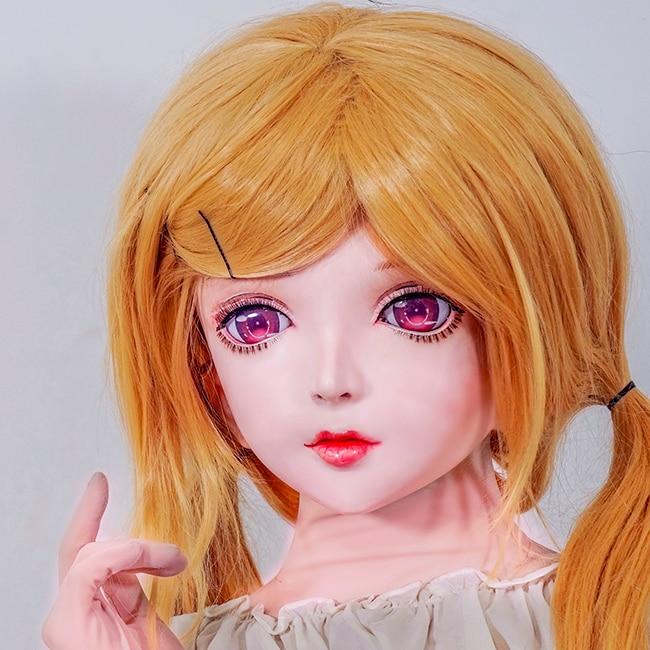 Boys Costume Accessories km112 Novelty & Special Use quality Handmade Female/girl Resin Full Head Japanese Cartoon Character Cosplay Bjd Doll Kigurumi Mask Crossdresser