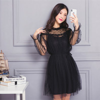 New Cute Women Dressading Patchwork Slim Mesh Lace A Small Word Fairy Straight Dresses Black Pale