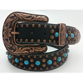 brown western retro bronzing cowboy turquoise rivet studded horse studded wester cowgirl brazil fashion cinto de strass belts