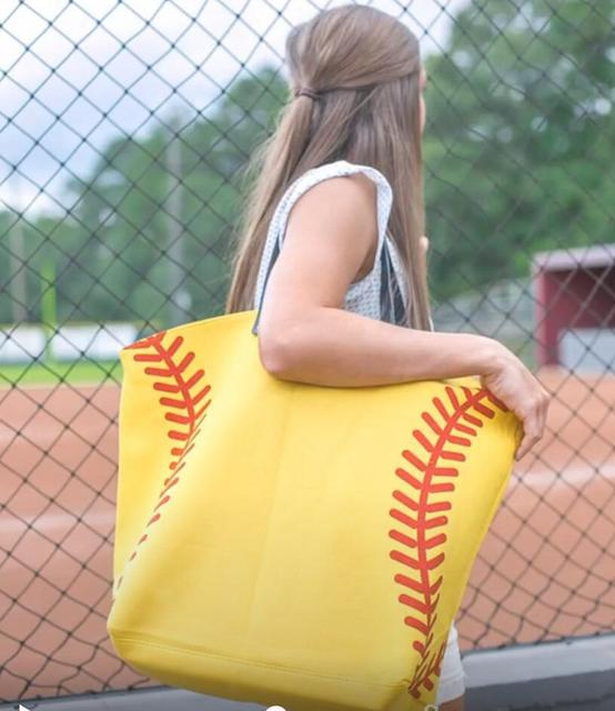 wholesale new yellow softball white baseball Jewelry Packaging Blanks Kids Cotton Canvas Sports Bags Baseball Softball Tote Bag 2