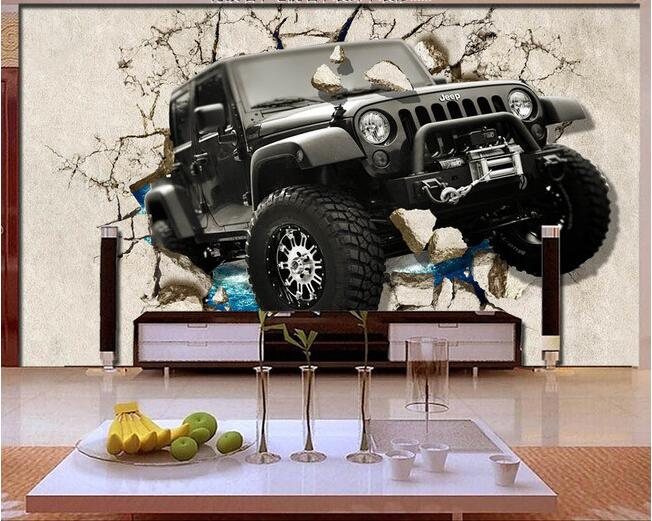 3d wallpaper custom mural non woven 3d room wallpaper 3 d for Car wallpaper mural