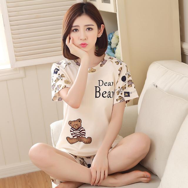 Conjunto de salón de verano de las mujeres conjuntos de pijamas de manga corta tops pantalones cortos ropa de dormir de algodón de dibujos animados delgada 3XL 4XL