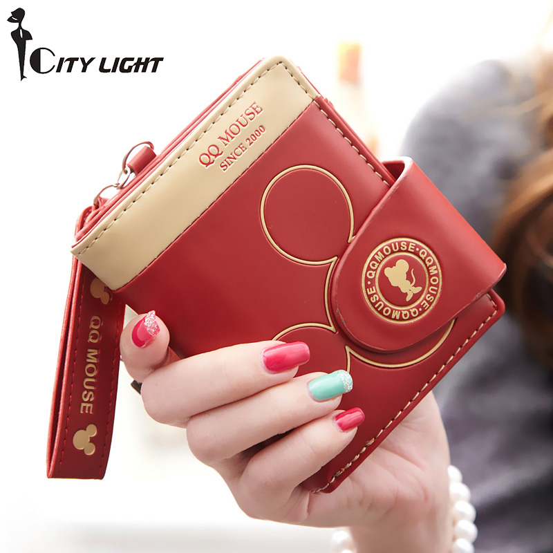 Cartera pequeña de dibujos animados mickey cute coin purse hasp tarjetero para mujer billeteras y monederos de mujer famosa marca