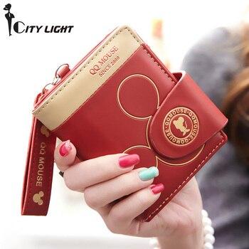 Wanita pemegang kartu kecil dompet kartun mickey lucu dompet koin pengait womens dompet dan tas wanita dompet merek terkenal