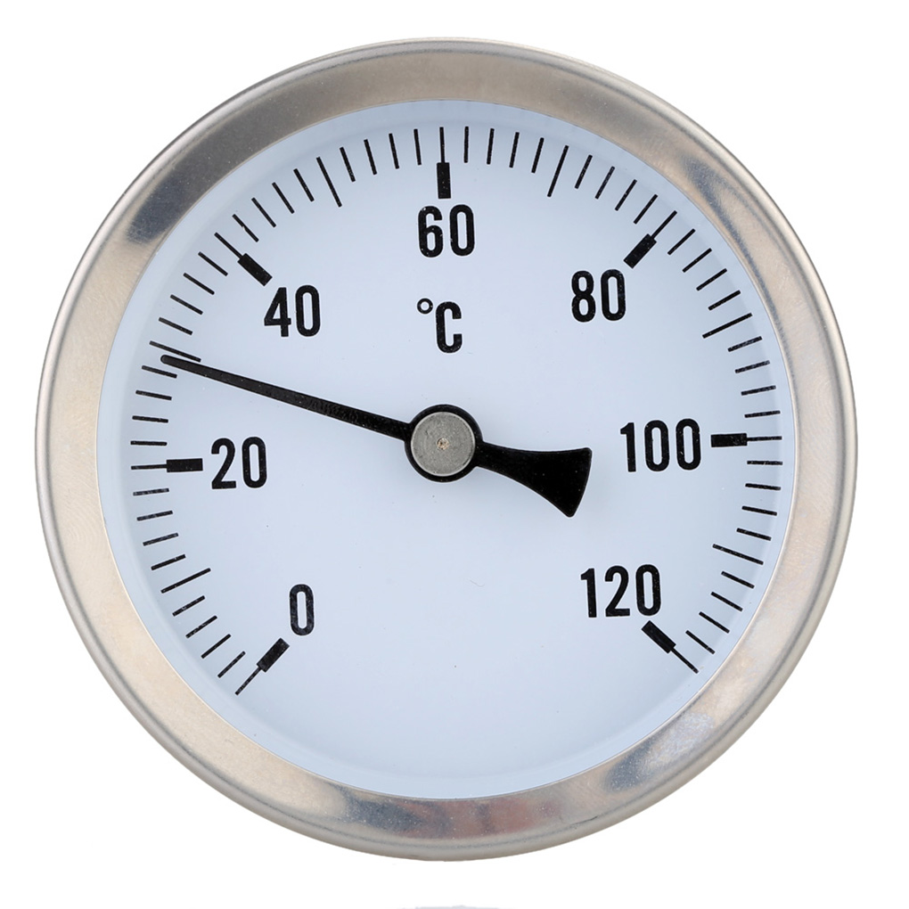 63mm Dial Horizontal Thermometer Aluminum Temperature Gauge Meter Liquid Water