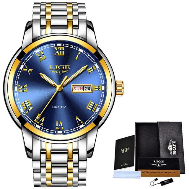 LIGE Men's Business Full Steel Top Brand Luxury Waterproof Quartz Watches 5