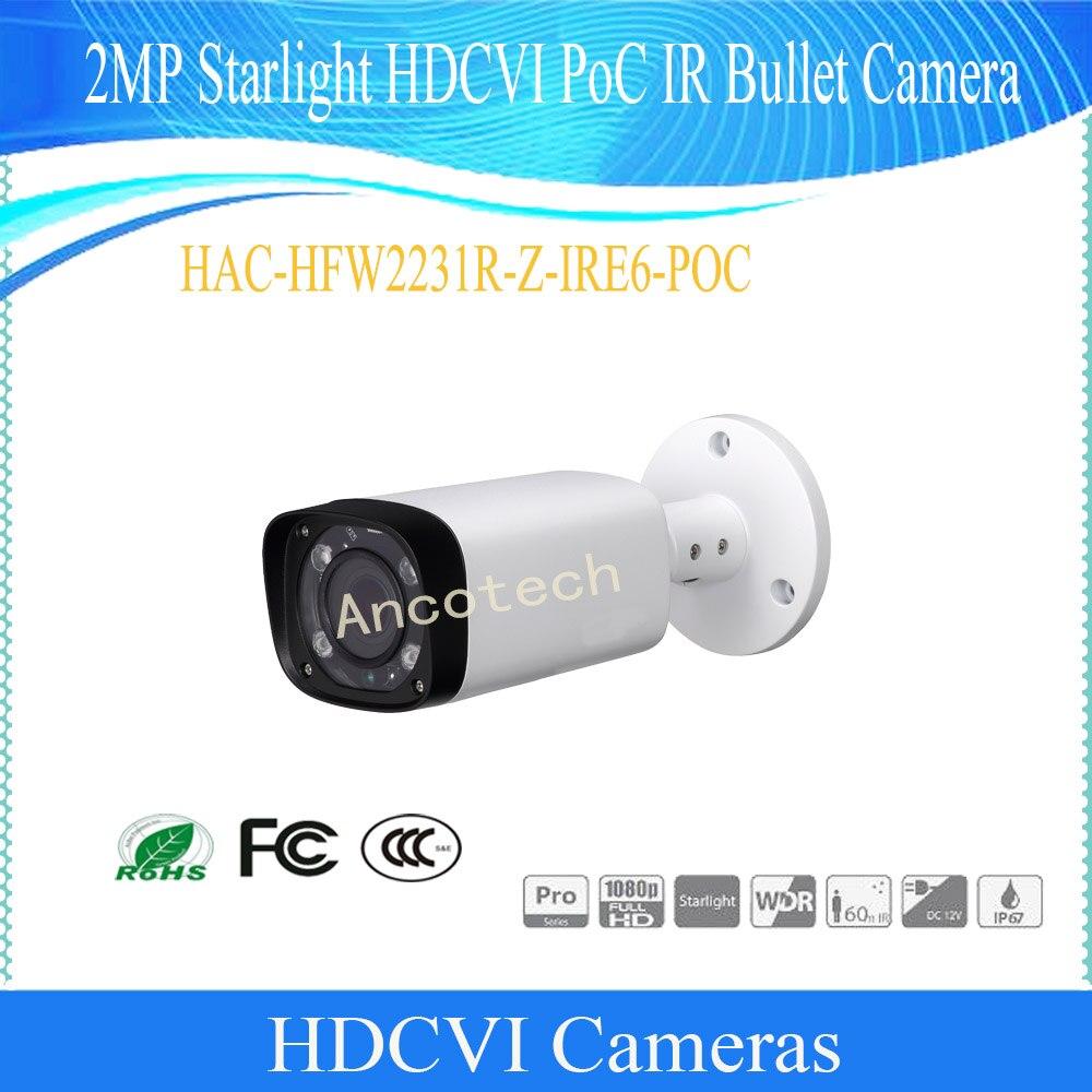 Бесплатная доставка в исходном Dahua Камеры Скрытого видеонаблюдения 2MP Starlight HDCVI poc пуля ИК Камера IP67 без логотипа HAC-HFW2231R-Z-IRE6-POC