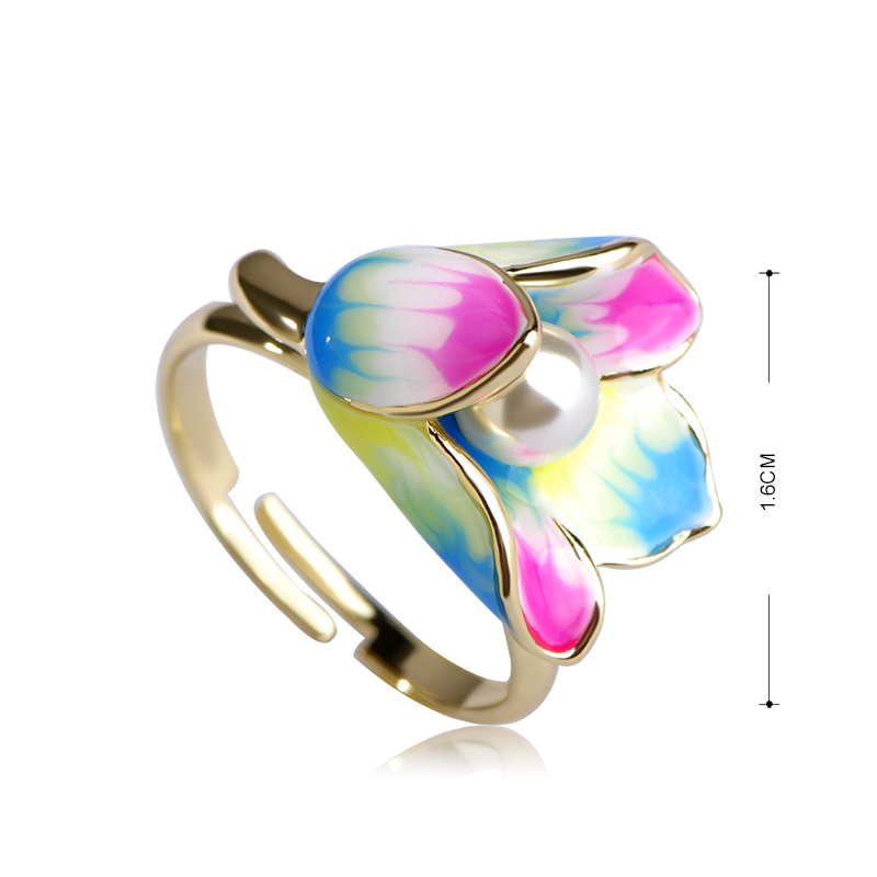 Madrry Fashion Enamel Jewelry Sets Earrings&Ring Gold color Pearl Flower Brincos Anillo Brand Wedding Party Schmuck Sets 4