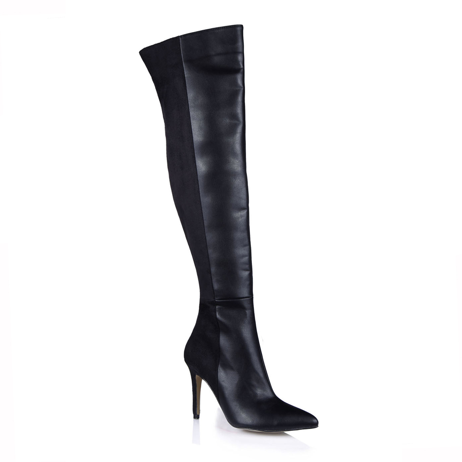 2016 Winter Black Sexy Mature Party Shoes Women Pointed Toe Stiletto High Heels Lady Over-the-Knee Boot Zapatos Mujer 70887bt-x2