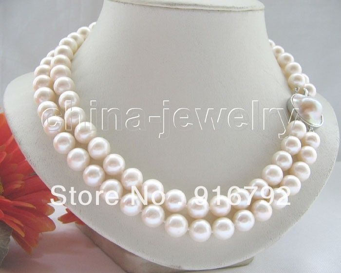 AAA+ 2row 10mm white round FW pearl necklaceAAA+ 2row 10mm white round FW pearl necklace