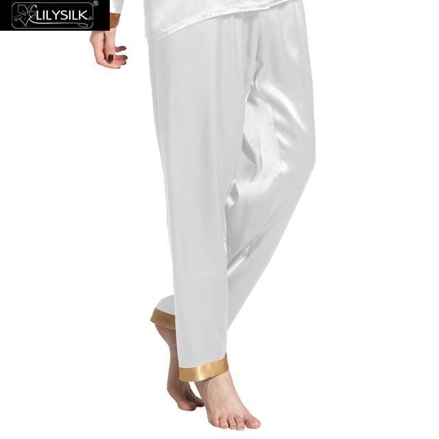 Pantalones de Pijama de Seda Lilysilk Real Blanco Puro Pantalón Largo Invierno Mujeres Sexy Ladies Pant 22 Momme de Dormir Ropa de dormir de Seda Inferior