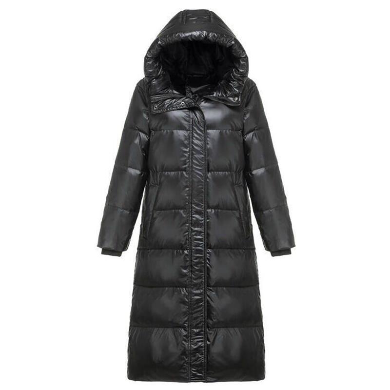새로운 2019 가을 겨울 여성 다운 롱 자켓 겨울 터틀넥 화이트 오리 코트 여성 후드 워밍업 파커 스노우 아웃웨어-에서베이식 쟈켓부터 여성 의류 의  그룹 1