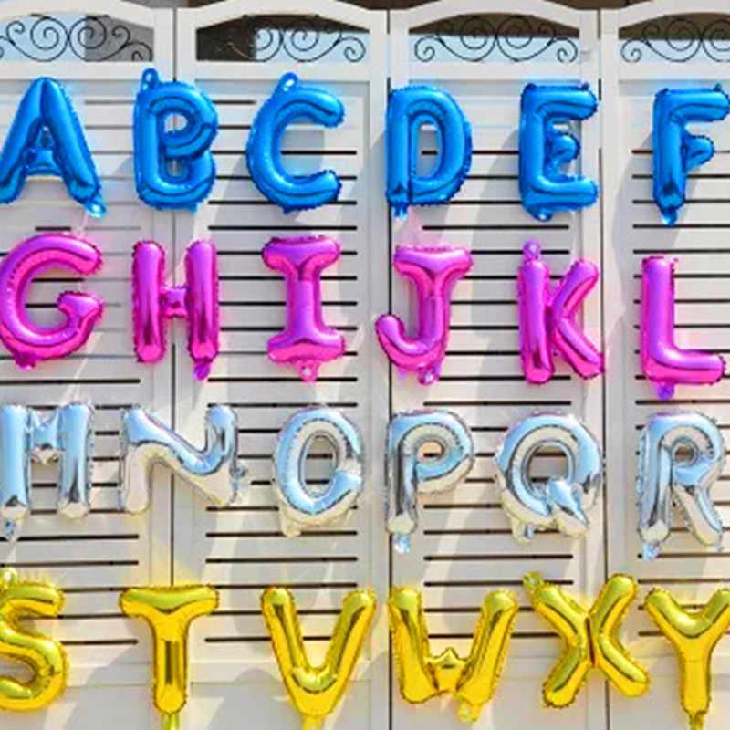 16 дюймов надувные буквы синий черный красный золотой Silve буквы фольга шарики, День подарков будущей матери с днем рождения свадебные воздушные шарики Globos