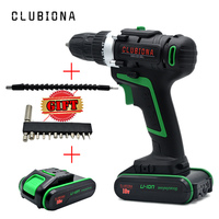 CLUBIONA Powerful And Reliable Rated Voltage 18V Screwdriver Cordless Electric Drill With 2 Li Ion Batteries