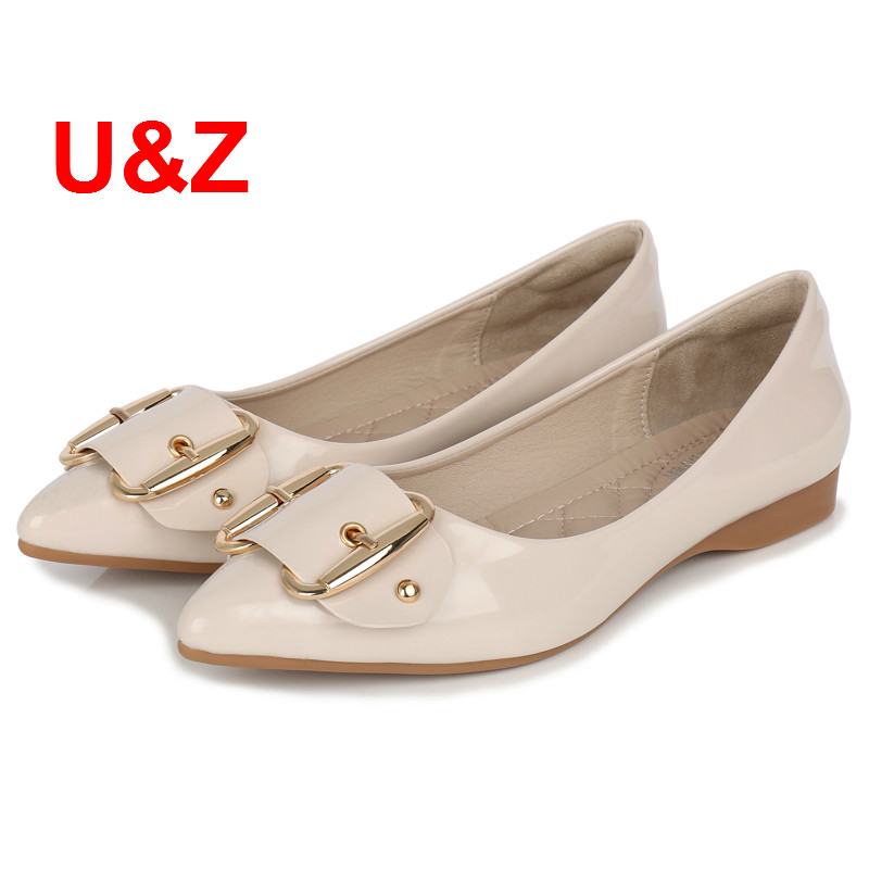 Big size Comfy shoes woman Soft Flats Casual Pointed Toe Beige/Black/Red patent leather shoes Buckle Shoes female Size 43 Sales big size footwear woman flats shoes bling beads pointed toe boat shoes for women black solid fashion soft sole ladies shoe 43